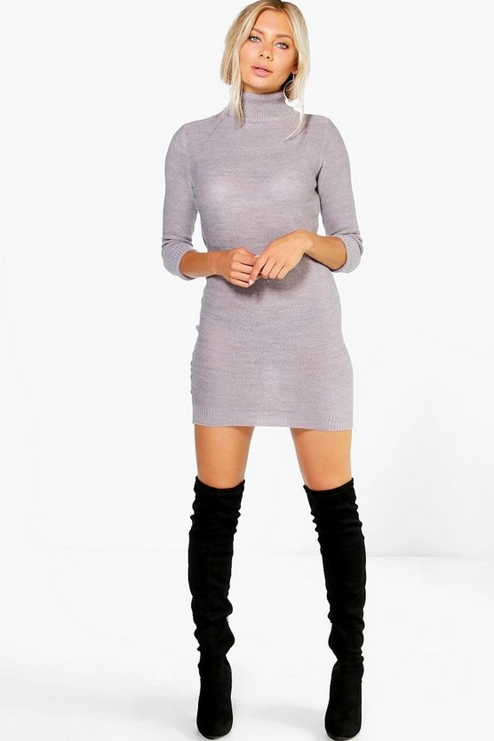 Roll Sleeve Knitted Dress