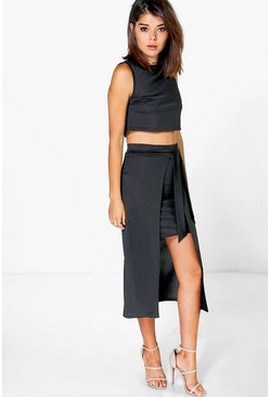 Womens Black Ava Tie Waist Skirt And Crop Co-Ord Set