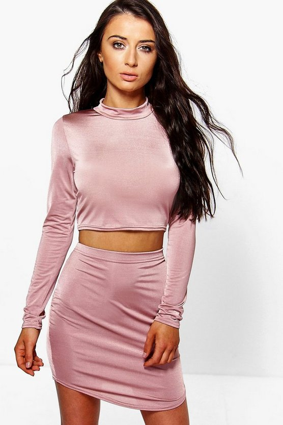 Rose Curved Hem Slinky Mini Skirt And Crop Top