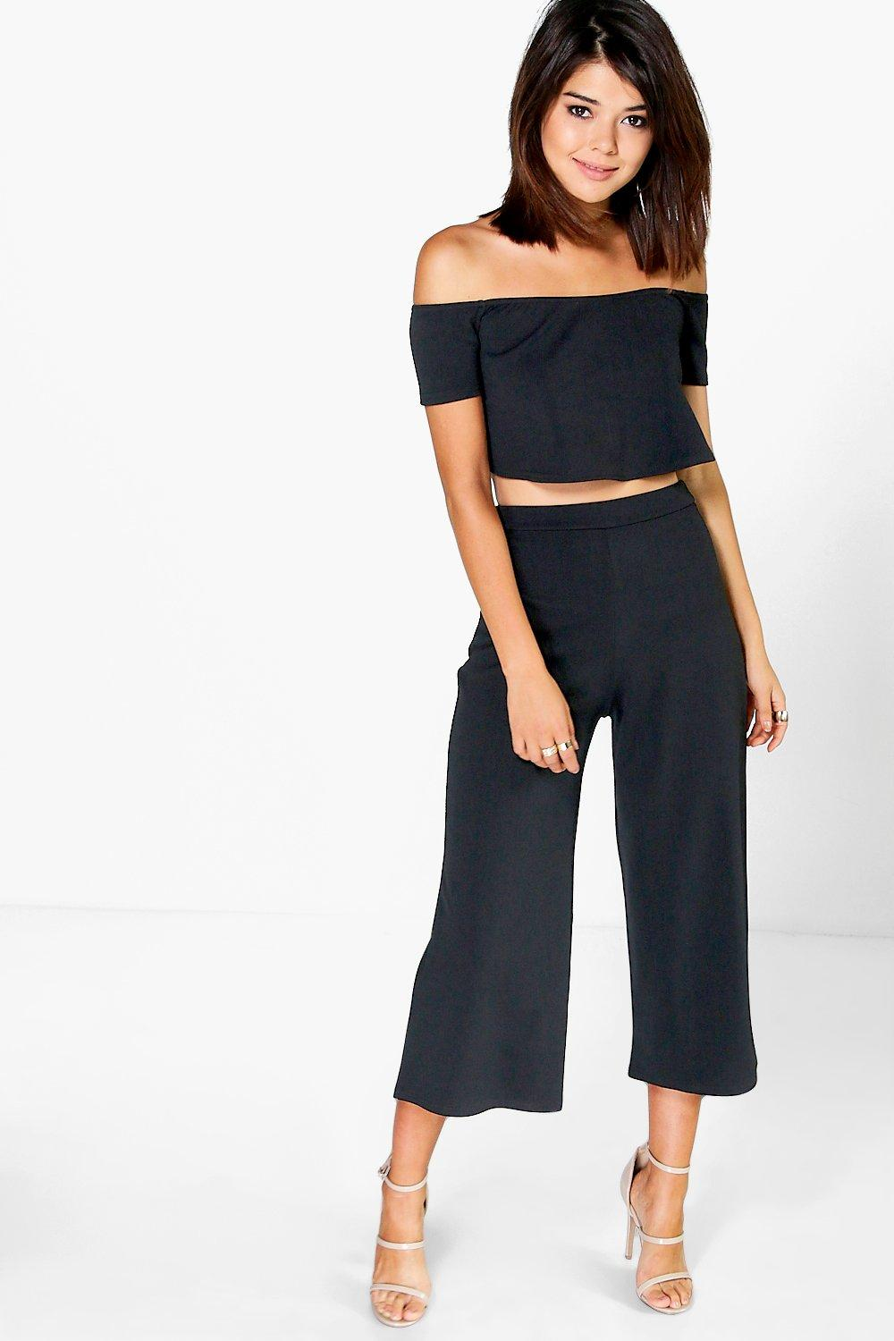 95215ef764c837 Womens Black Off The Shoulder Top And Culotte Co-Ord Set. Hover to zoom