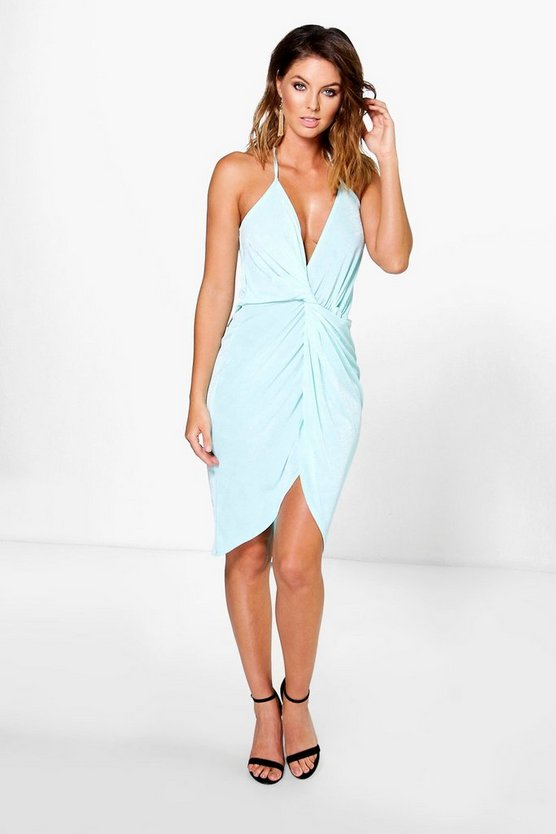 Kalina Textured Slinky Knot Halter Midi Dress