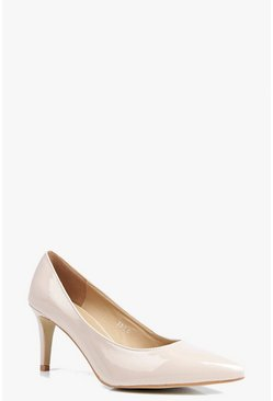 Womens Nude Low Heel Court Shoes