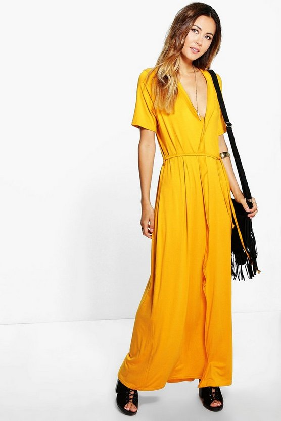 Natalia Wrap Front Belted Maxi Dress