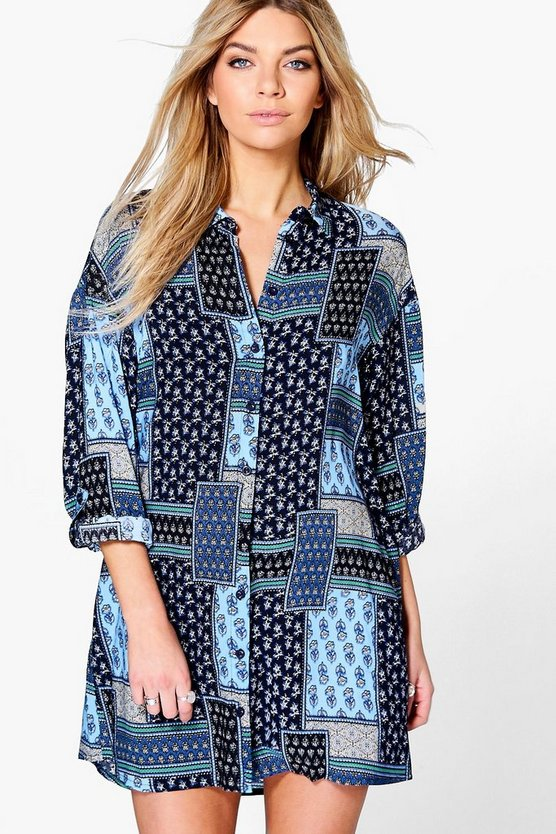 Womens Multi Penny Paisley Shirt Dress