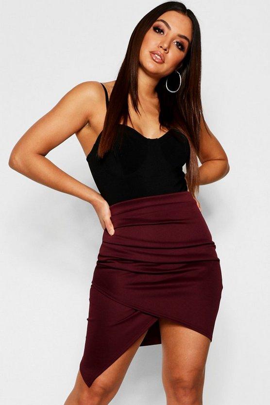 Berry Rouched Side Asymetric Skirt