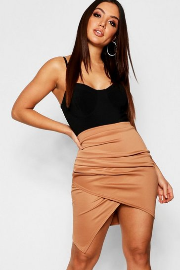 Womens Camel Rouched Side Asymetric Skirt