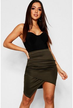 Khaki Rouched Side Asymetric Skirt