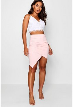 Womens Rose Rouched Side Asymetric Skirt