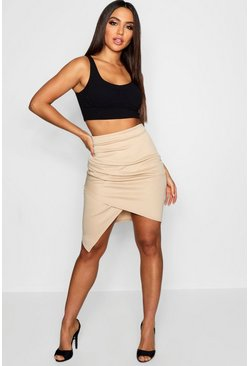 Sand Rouched Side Asymetric Skirt