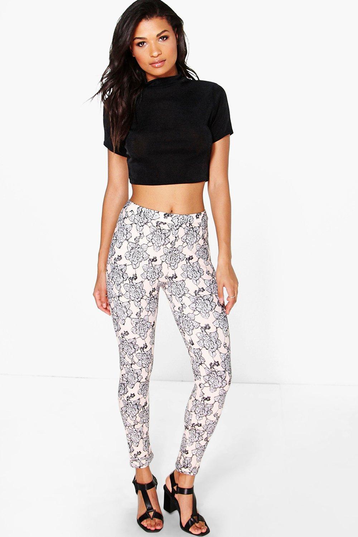 Zia Floral Skinny Trousers | boohoo