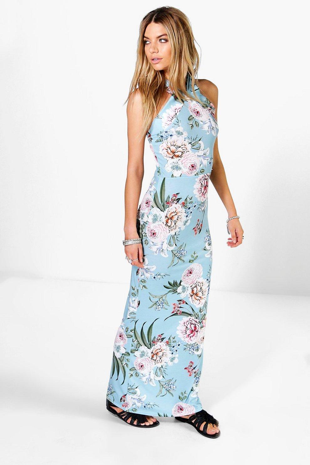eb4a6ac1382 Sofia Floral Printed High Neck Maxi Dress