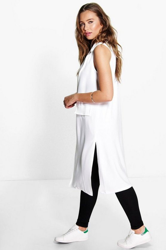 Womens White Amber Sleeveless Duster