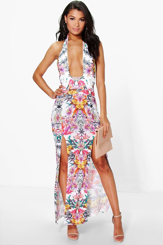 496e2740df09 Kirst Cut Out Halter Neck Tropical Print Maxi Dress | Boohoo