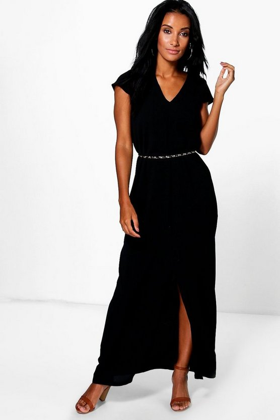 Wrap Front Split Maxi Dress