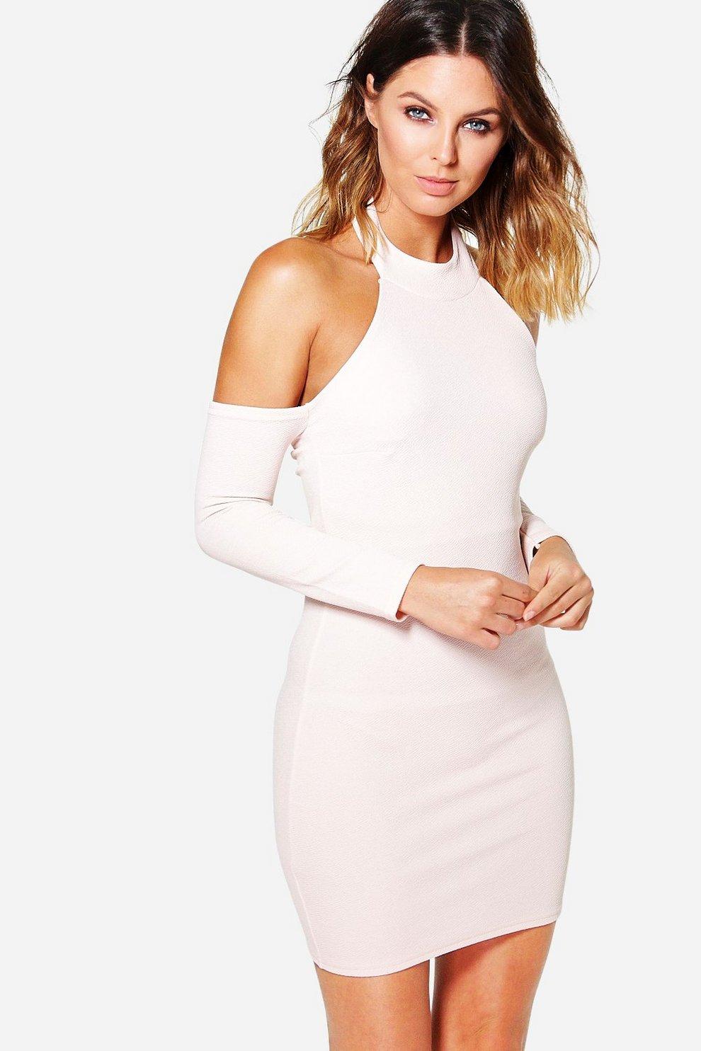 cf5bd88745ac Layla Open Shoulder Long Sleeve Bodycon Dress | Boohoo