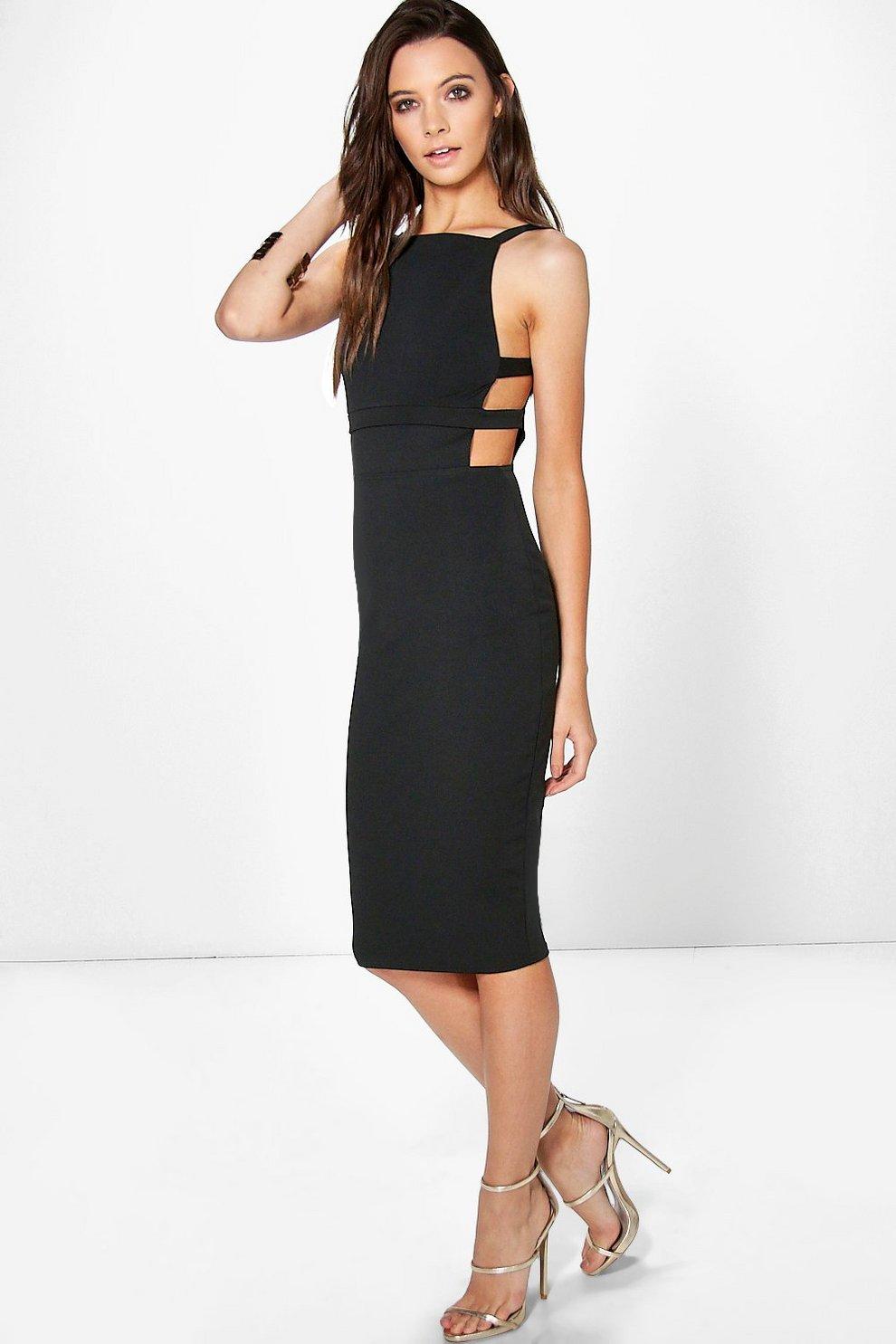 ae185fca0d2a Alexis Square Neck Strap Waist Midi Dress | Boohoo