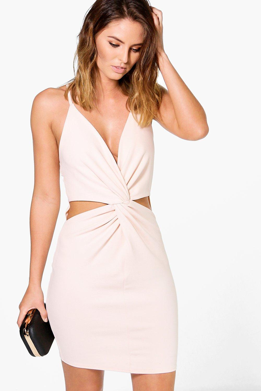 7d0ff0eb2b Talha Knot Front Cut Out Bodycon Dress | Boohoo