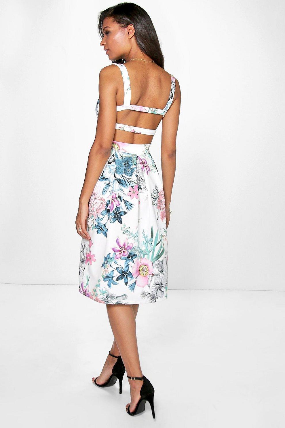3eb654764069 Maisie Strappy Floral Midi Skater Dress