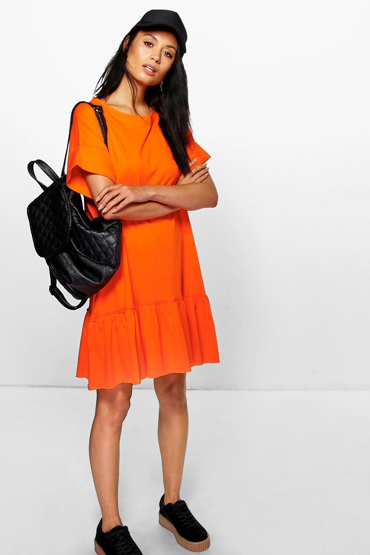 9a384ec8acf19 Womens Orange Ruffle Hem T-Shirt Dress. Hover to zoom