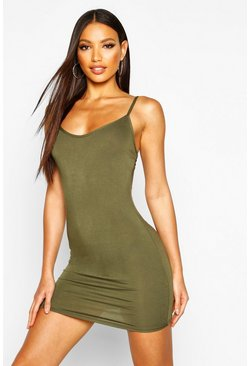 Womens Khaki Basic Strappy Cami Bodycon Dress