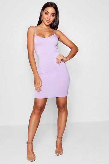 Lilac Basic Strappy Cami Bodycon Dress