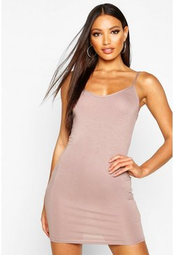 Womens Tan Basic Strappy Cami Bodycon Dress