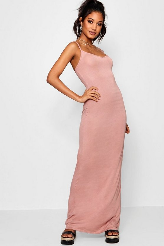 Womens Antique rose Basic Strappy Maxi Dress