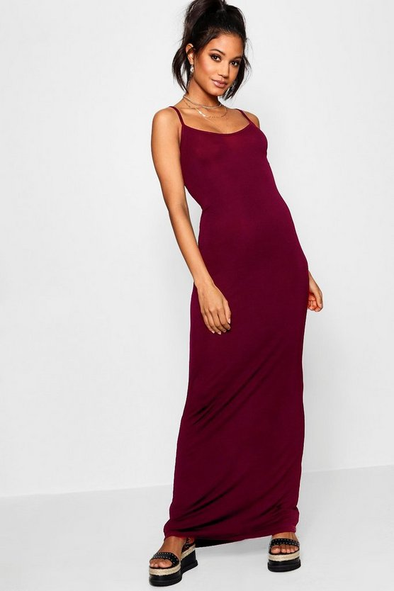Womens Berry Basic Strappy Maxi Dress