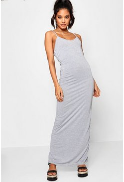 Grey marl Basic Strappy Maxi Dress