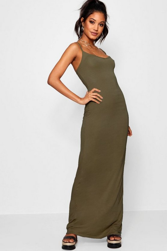 Womens Khaki Basic Strappy Maxi Dress