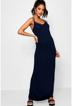 Womens Midnight Basic Strappy Maxi Dress