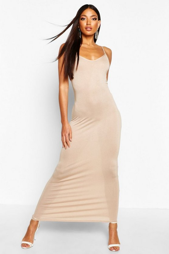 Womens Sand Basic Strappy Maxi Dress