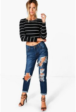 Womens Dark blue Lizzy Low Rise Ripped Boyfriend Jeans