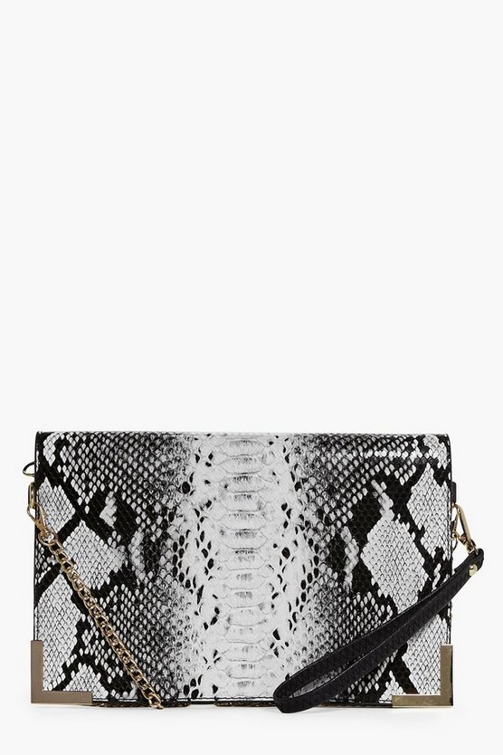Rose Faux Snake Metal Chain Cross Body Bag