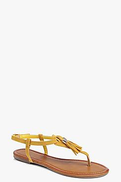 Ruby Tassel Trim Thong Sandal