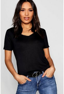 Black Basic Super Soft V Neck T-Shirt