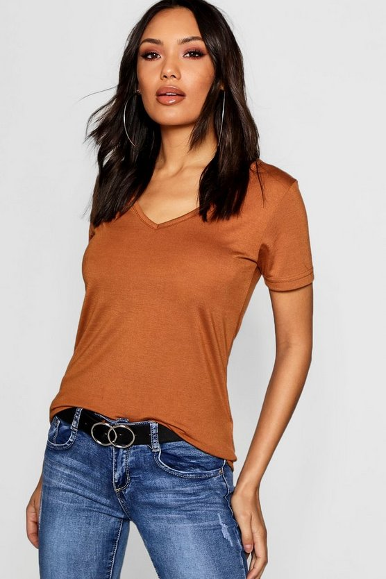 Womens Camel Basic Super Soft V Neck T-Shirt