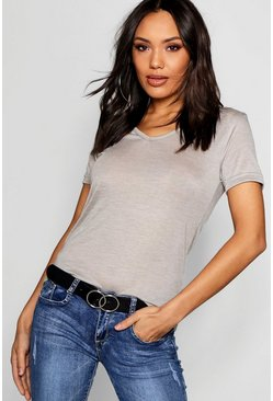 Womens Grey marl Basic Super Soft V Neck T-Shirt