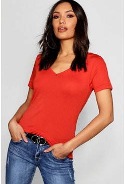 Womens Red Basic Super Soft V Neck T-Shirt