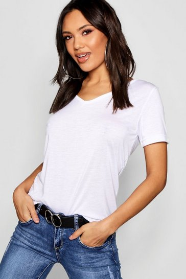 White Basic Super Soft V Neck T-Shirt