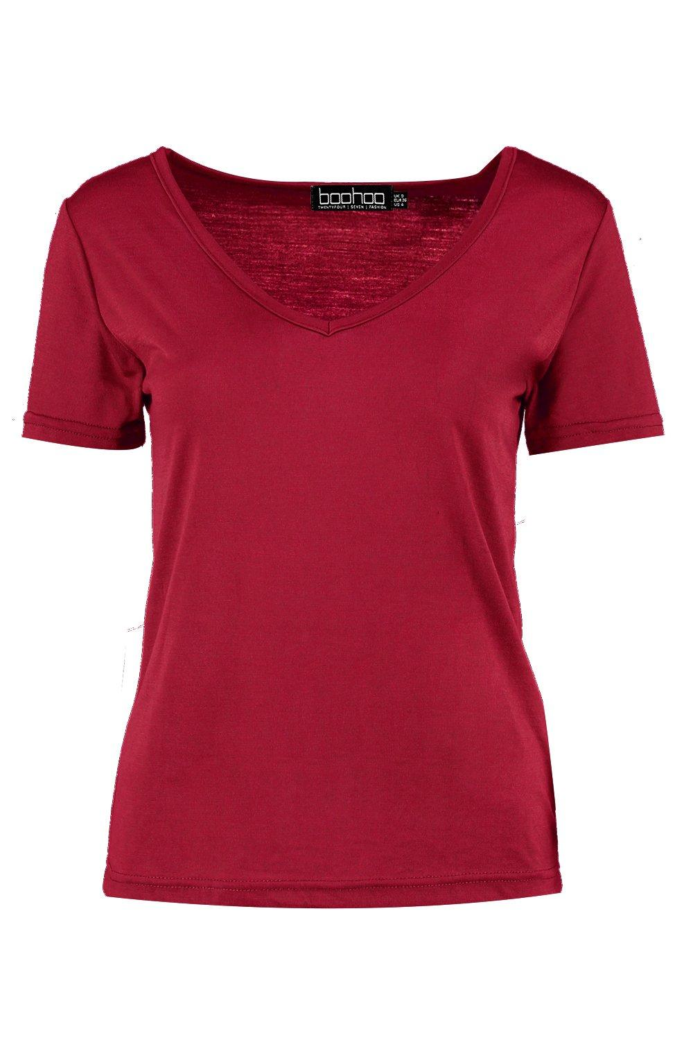 Shirt Basic Supersoft wine Neck T V IOqZCwOSTx