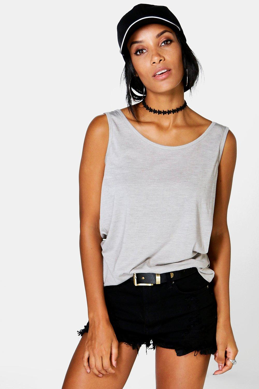 Camiseta de marga gris tirantes básica RwSORTq