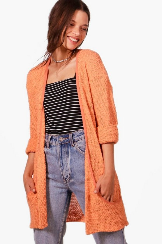Womens Apricot Loose Knit Slouchy Pocket Cardigan