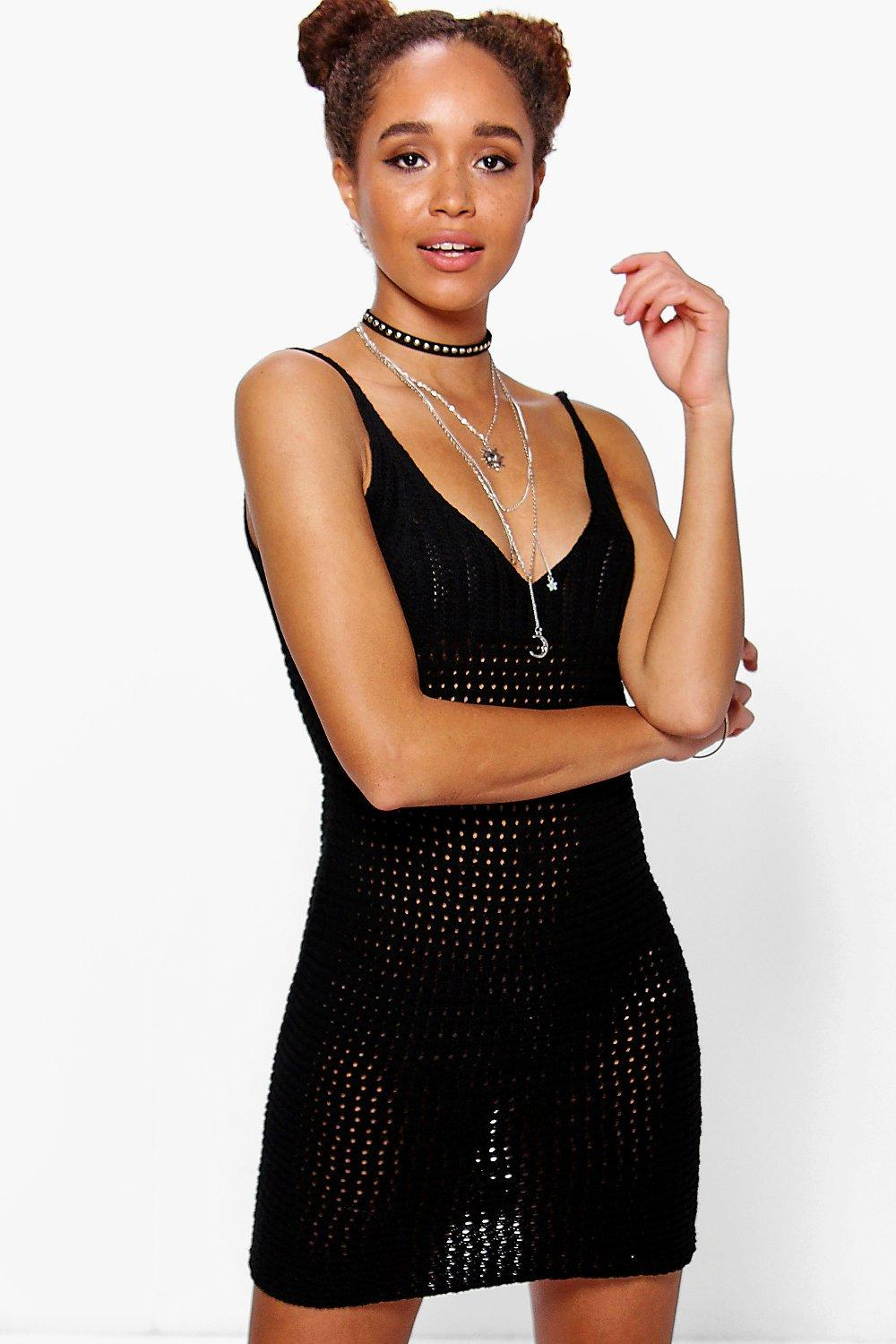 Maisie Pointelle Crochet Mini Dress Boohoo