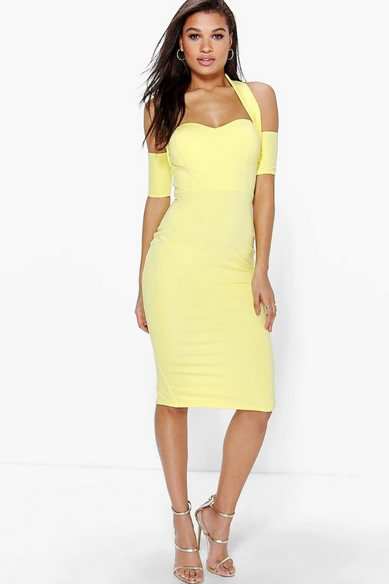 Womens Yellow Jodie Halterneck Sweetheart Midi Bodycon Dress