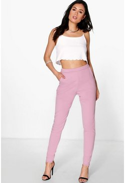 Womens Mauve Basic Crepe Super Stretch Skinny Trousers