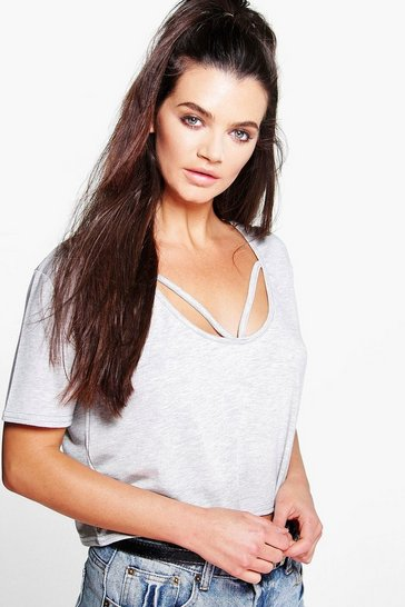 Grey Strappy Front Oversized Crop T-Shirt