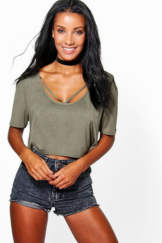 Strappy Front Oversized Crop Tee