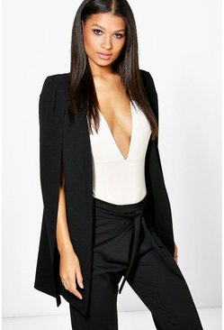 Black Longline Tailored Crepe Cape