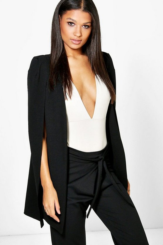 Womens Black Longline Tailored Crepe Cape